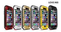 Couple full protection phone case LOVE MEI Metal Silicone + Gorilla Glass Shockproof Waterproof Case for iPhone 6 plus 5.5 inch