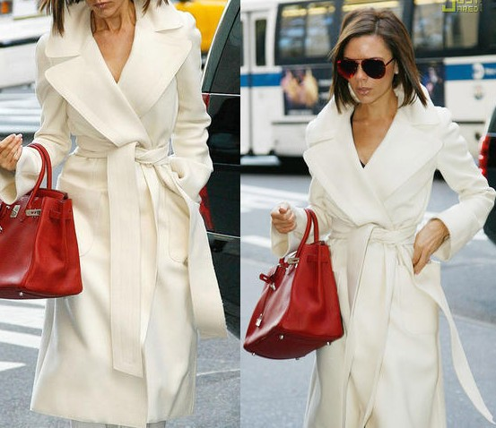Wholesale-UK Brand New 2015 Winter Women White Lapel Cashmere Slim
