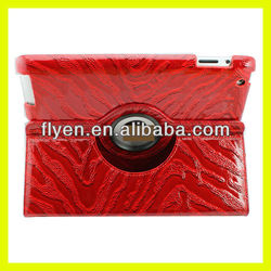 marbling pattern desgin 360 degree rotating case for ipad 4 ipad 3 ipad 2 leather material smart red cover with magnetic
