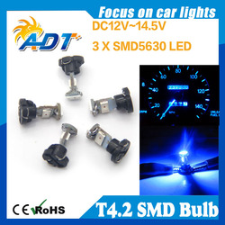 Buy cheapest T4.2 smd led 0.1W 1400mcd 3-LED Blue Light Car Dashboard / Corner / Indicate Lamps