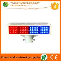 Solar Panel Battery Barricade Flash Red Blue Led Beacon Light