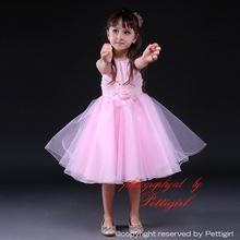 Fabricación de ropa occidental vestido de la muchacha rosada de la gasa del oscilación Invory ropa de encaje princesa
