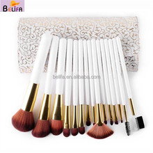 Travelling Pro Cosmetic Makeup Brushes Set Kit Make up Tool With Leather Bag