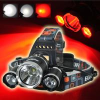 BORUIT RJ-3000 1xCREE XML T6+2xCREE R2 Red Light 3-Mode USB Rechargeable LED Headlamp (2x18650)