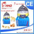 para 7 huevos portátil 98% tasa de eclosión de huevos CE aprobó barato de pollos de engorde pollo huevos para incubar