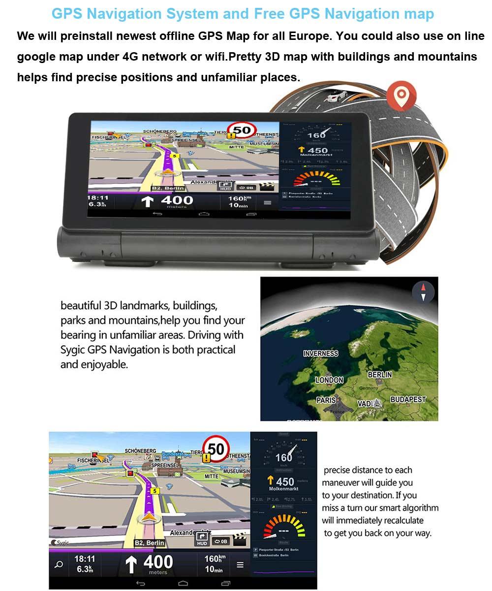 4G Voiture GPS Dvr Caméra FHD 1080 P Double objectif Dashcam ADAS 16 GB ROM Bluetooth WIFI 6.86 pouce Android 5.0 GPS navigateur