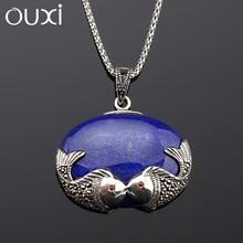 OUXI famous brand fashion jewelry pendant silver necklace wholesale