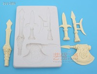silicone chocolate moulds sword,silicone ax cake moulds,fondant cake decorating tools