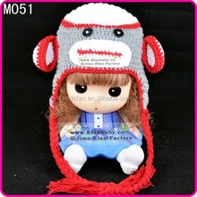 handmade cotton cute animal pattern monkey knitted crochet baby beanie hats for children
