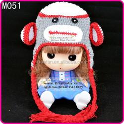 handmade cotton cute animal pattern monkey knitted crochet baby beanie hats for children