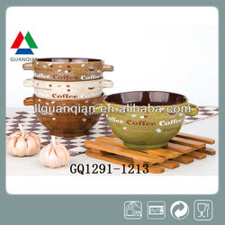 Glossy stoneware two handle bowls suppliers