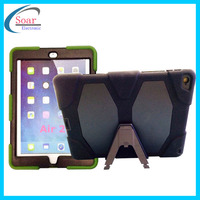 Silicon Heavy Duty military Hybrid kickstand shockproof case For iPad air 2 tablet case
