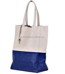 Hot Sell 2 colors mix genuine leather woman tote bag