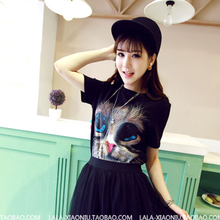 MS70151L lovely girls summer casual style cat printed white and black t-shirts