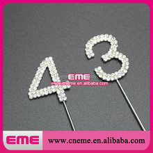 High quality sparkling cheap rhinestone number cake topper for wedding birthday accessories