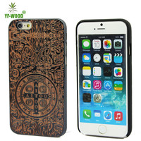 painting and laser engraving phone case for iphone6s cover wood