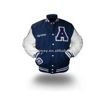 Varsity chaqueta con mangas de cuero para los hombres, nueva moda chaqueta de béisbol