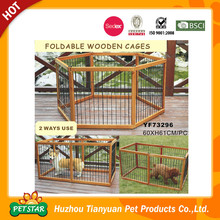 Fashion Material Small Foldable Wooden Frame Stainless Steel Pet Cage