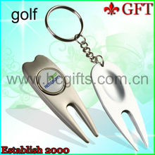 2015 new design custom divot tools with key chain /silver plating high quality golf divot tool