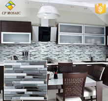 Best Prices Modern House Design Strip Glass Mix Stone Bathroom / Kitchen Wall Tiles