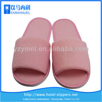 Girls pink towel indoor best high quality hotel toeless slippers