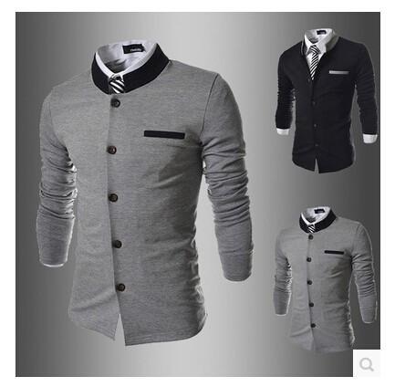 HTB18IYdFVXXXXc6XVXXq6xXFXXXF - Fashion Brand Men's spell color Collar Slim Fit Blazer Suits (without Shirt and Tie) (Asia Size)