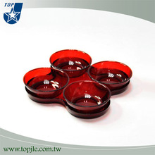 rodada de acrílico vermelho simples 4 forma prato de comida