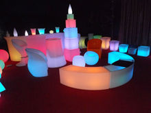 PE Material outdoor kiddies plastic tables and chairs with 16 Color Changing, for Party Events and Club