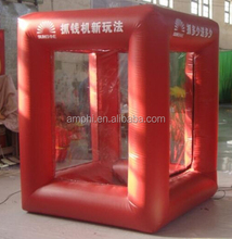 Advertising red inflatable money machine/booth inflatable cash cube