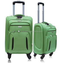 3PCS twill material fabric polyester soft eva travelling luggage bag with pvc cover