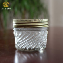 round clear glass jam jar with striation factory price