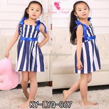Azul marino y blanco Stripes Dress Girls vestido náutico para las muchachas 1-6 años de edad