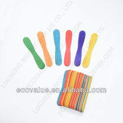 DIY Wooden Handcraft Sticks Multicolored Flat Wooden Ice Cream Spoons