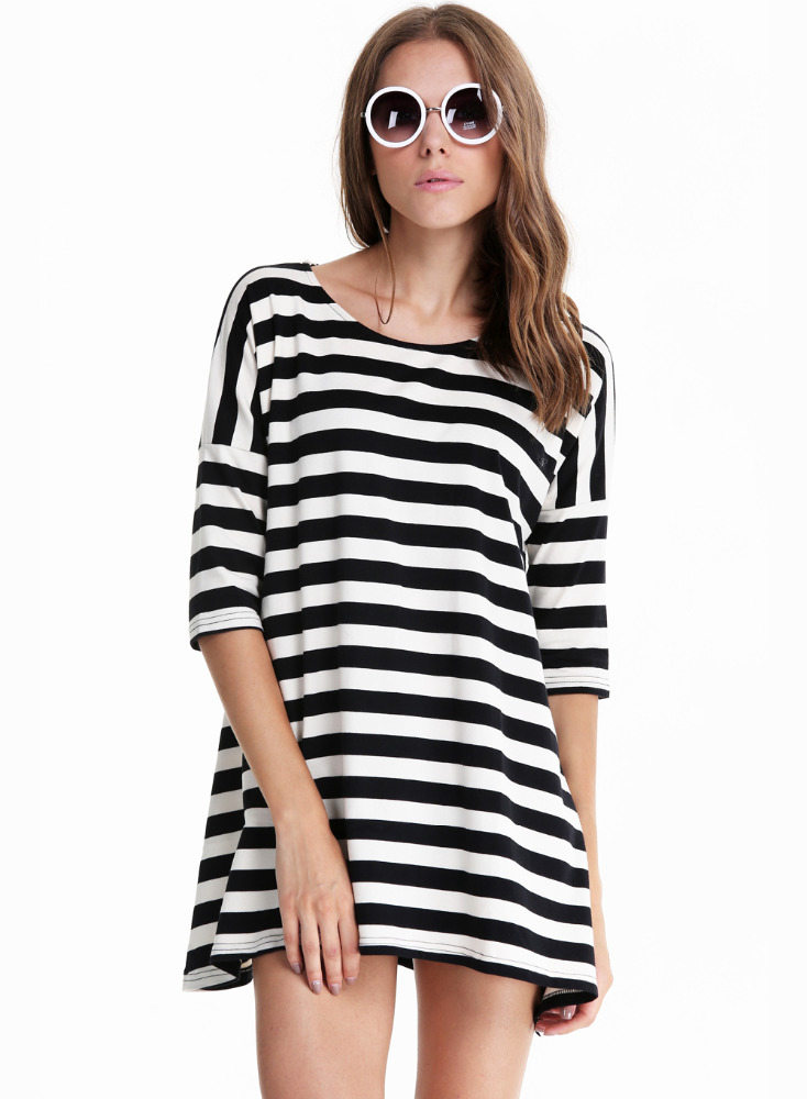 A rayon long sleeve pullover or a long sleeve black and white crop top can both pull off a fun and flirtatious look when you go out. If you are heading into work, a crisp black and white striped dress shirt is a simple but sophisticated addition to most any outfit.