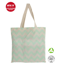 180gsm Fashion Green Chevron Pattern Cotton Tote Lady Bag