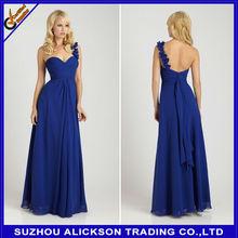 Ali-B093 2014 One Shoulder Royal Blue Sweetheart Chiffon Bridesmaid Dress