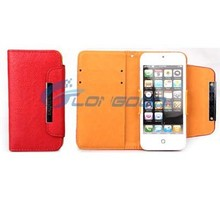 2015 Fashionable Phone Leather Case with Credit Card Slot & Lanyard For iPhone 5