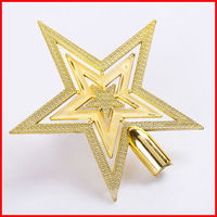 christmas tree top decoration gold metal star