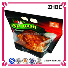 Food safty plastic delivery hot roast chicken bag with zipper