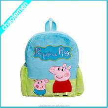 2015 Factory Cartoon Pig Plush school bags kids backpack wholesale