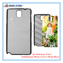 Sublimation Blank Phone Cover for Samsung Note3 with Metal Sheet Sublimation Cell Phone Case Top Quality