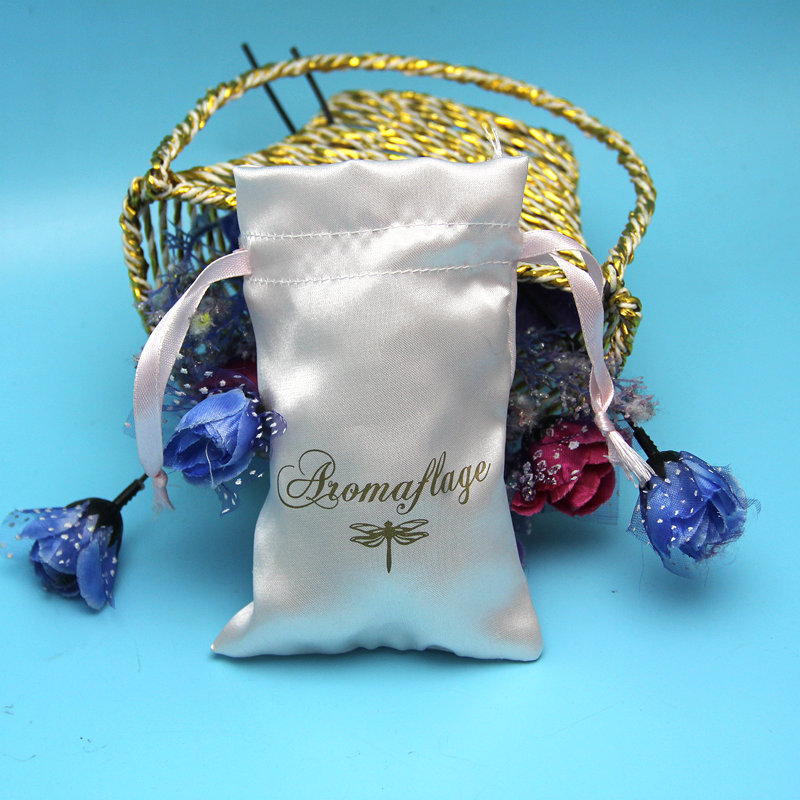 2015 custom printed logo luxury silk satin perfume pouch