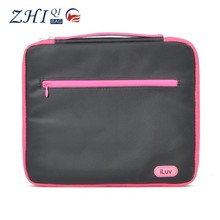 Custom girls cotton canvas 15.6 tablet pc pouch with front zipper and handle for notebook computer sleeve case
