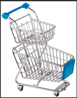 High quality Iron 2 tier hand pull shopping trolley / cart