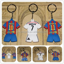 Football clothes keychain/soccer clothes keychain/sports pvc clothes keychain