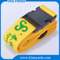 Own logo silk screen print luggage belt with plastic buckle ,travel luggage strap