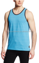 2015 wholesale men's comfortable bodybuliding Stripe jersey tank top in bulk XYT-1902