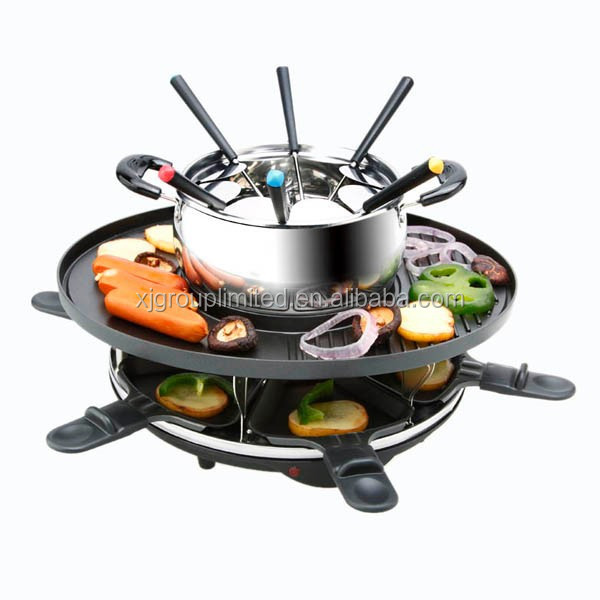 household grill with fondue pot buy household grill home electric raclette grill 6 person. Black Bedroom Furniture Sets. Home Design Ideas