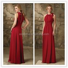 Latest dress designs for bridesmaid Halter top Real sample Red chiffon bridesmaid dress pattens 2015 ( BDAL-5012)