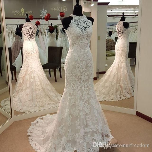 Vintage Full Lace Mermaid Wedding Dresses High Neck Evening Gown ...